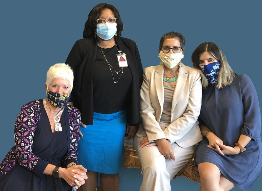 The First Step of Sarasota executive officers as of August 2020: Front, Gwen MacKenzie, CEO; back, left to right, Tracy Weeden Chief In-patient and residential services officer; Mounira Ragsdale, Chief administrative officer; and Vickie Tiutyama, Chief Financial Officer.
